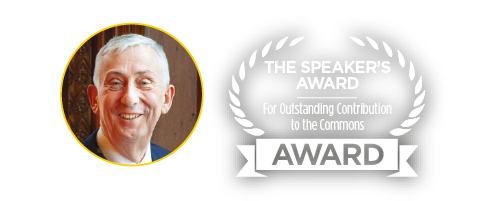 Sir Lindsay Hoyle Judge of The Speaker's Award for Outstanding Contribution to the Commons