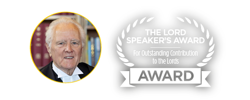 Lord McFall Judge of The Lord Speaker's Award for Outstanding Contribution to the Lords